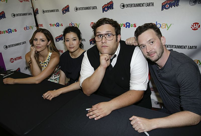 Katharine McPhee, Jadyn Wong, Ari Stidham, and Eddie Kaye Thomas of the CBS series SCORPION meet with fans during a signing at COMIC-CON® 2016 in San Diego, California. Photo: Francis Specker/CBS ©2016 CBS Broadcasting, Inc. All Rights Reserved