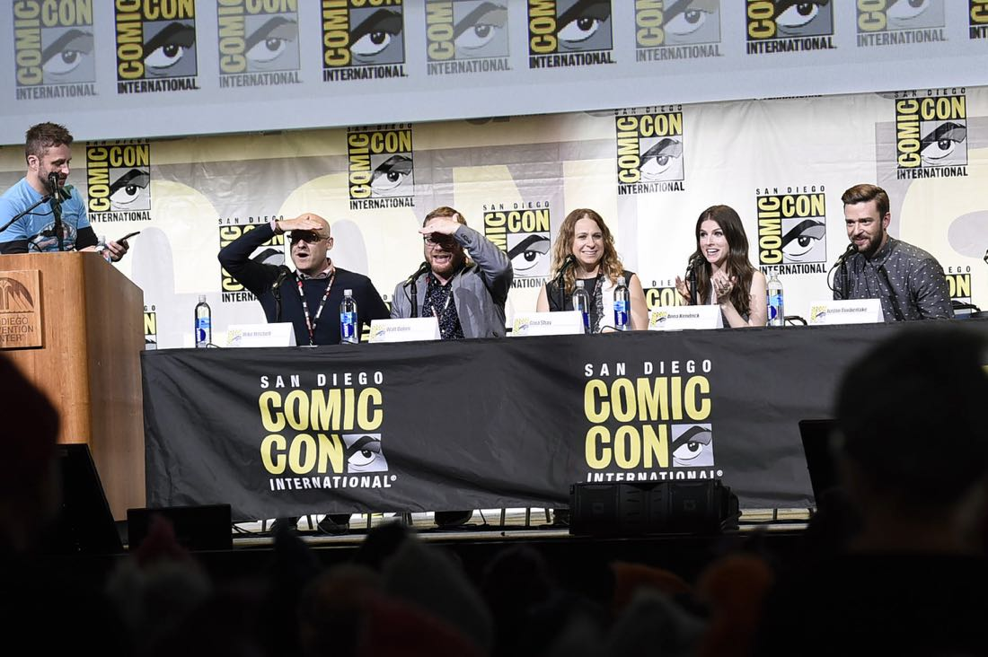 TROLLS filmmakers and voice actors at DreamWorks Animation's Comic Con Hall H Panel. (from left) Moderator Chris Hardwick, Director Mike Mitchell, Co-Director Walt Dorn, Producer Gina Shay, Anna Kendrick, and Justin Timberlake.