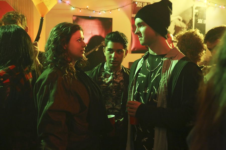 """DEAD OF SUMMER - """"Mix Tape"""" - A night off duty for some of the counselors provides welcome opportunities for romance, but could end on a darker note in """"Mix Tape,"""" an all-new episode of """"Dead of Summer,"""" airing TUESDAY, JULY 12 (9:00 - 10:00 p.m. EDT), on Freeform. (Freeform/Jack Rowand) AMBER CONEY, MARK INDELICATO, JOHN C. MACDONALD"""
