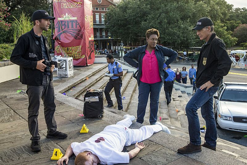 """Aftershocks"" -- The NCIS team partners with several federal agencies to track a sniper who is targeting crowded events in the city. Also, FBI Special Agent Tammy Gregorio (new cast member Vanessa Ferlito) arrives to investigate Pride and his team, on the third season premiere of NCIS: New Orleans, Tuesday, Sept. 20 (10:00-11:00 PM, ET/PT), on the CBS Television Network. Pictured L-R: Lucas Black as Special Agent Christopher LaSalle, CCH Pounder as Dr. Loretta Wade, and Scott Bakula as Special Agent Dwayne Pride Photo: Skip Bolen/CBS ©2016 CBS Broadcasting, Inc. All Rights Reserved"