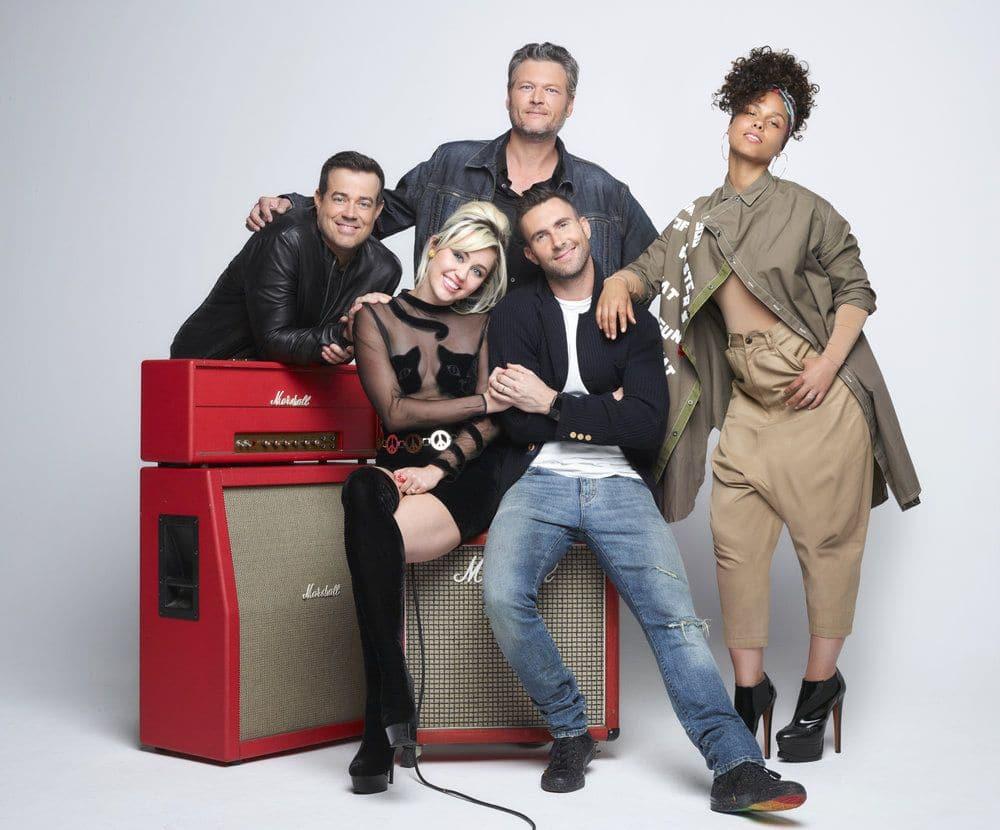 THE VOICE -- Season: 11 -- Pictured: (l-r) Carson Daly, Miley Cyrus, Blake Shelton, Adam Levine, Alicia Keys -- (Photo by: Michael Muller/NBC)