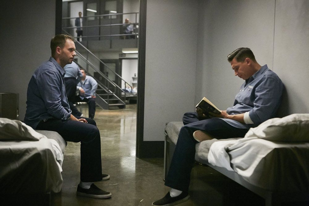 """SUITS -- """"Shake the Trees"""" Episode 607 -- Pictured: (l-r) Patrick J. Adams as Michael Ross, Erik Palladino as Kevin Miller -- (Photo by: Ian Watson/USA Network)"""