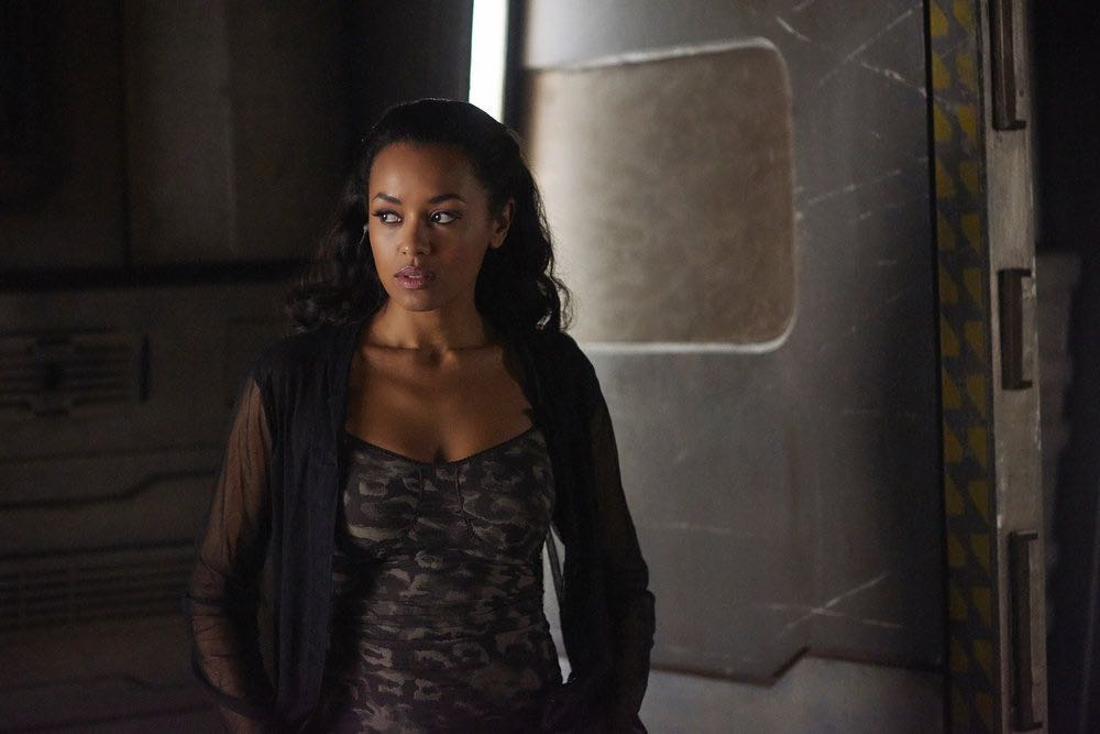 "DARK MATTER -- ""She's One of Them Now"" Episode 207 -- Pictured: Melanie Liburd as Nyx -- (Photo by: Russ Martin/Prodigy Pictures/Syfy)"