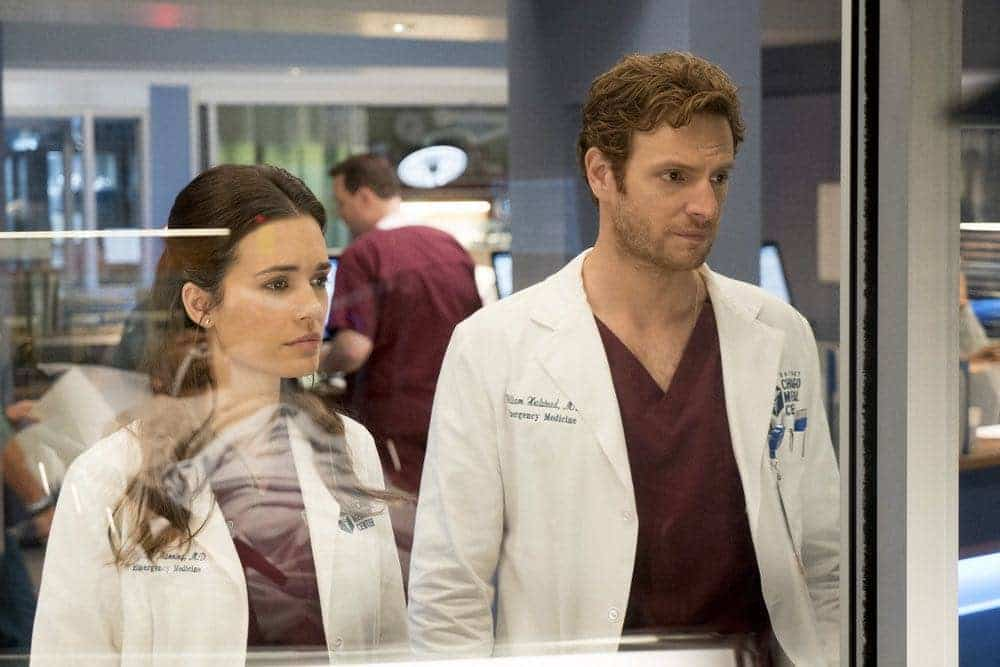 """CHICAGO MED -- """"Brother's Keeper"""" Episode 204 -- Pictured: (l-r) Torrey DeVitto as Natalie Manning, Nick Gehlfuss as Will Halstead -- (Photo by: Elizabeth Sisson/NBC)"""
