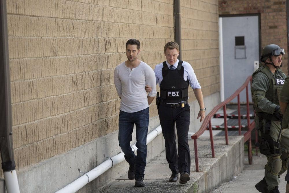 "THE BLACKLIST -- ""Miles McGrath #65"" Episode 403 -- Pictured: (l-r) Ryan Eggold as Tom Keen, Diego Klattenhoff as Donald Ressler -- (Photo by: Eric Liebowitz/NBC)"