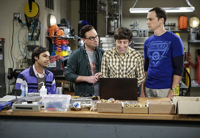 """The Military Miniaturization"" -- Pictured: Rajesh Koothrappali (Kunal Nayyar), Leonard Hofstadter (Johnny Galecki), Howard Wolowitz (Simon Helberg) and Sheldon Cooper (Jim Parsons). Colonel Williams (Dean Norris), an Air Force representative from the Department of Material Command sits down to talk with Wolowitz, on THE BIG BANG THEORY, Monday, Sept. 26 (8:00-8:30, ET/PT), on the CBS Television Network. Photo: Sonja FlemmingCBS ©2016 CBS Broadcasting, Inc. All Rights Reserved."