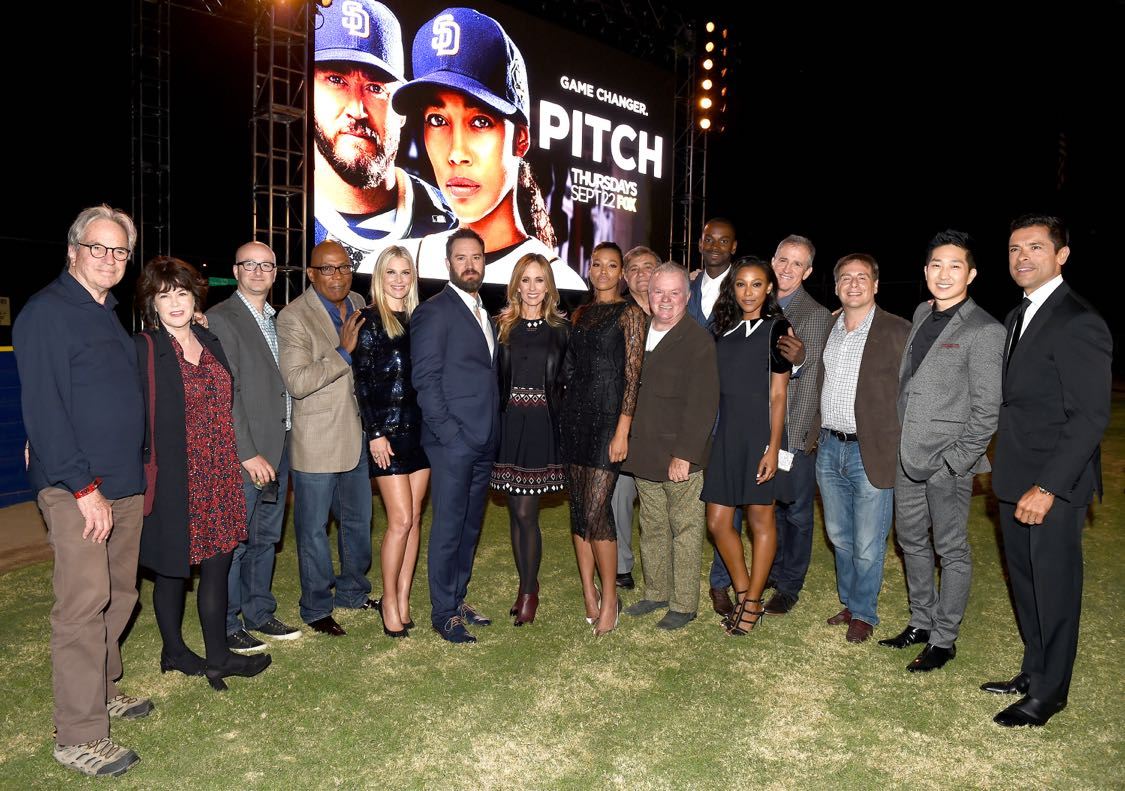 PITCH: Chairman and CEO, Fox Television Group Dana Walden (Center), PITCH cast members Mark-Paul Gosselar (Immediate Left) and Kylie Bunbury (Immediate Right), and PITCH Executive Producers and cast members celebrate at the PITCH Premiere Party at West LA Little League Field on Tuesday, Sept. 13, in Los Angeles, CA, sponsored by AT&T and Kohl's. PITCH premieres Thursday, Sept. 22 (9:00-10:00 PM ET/PT) on FOX. © 2016 FOX BROADCASTING CR: Frank Micelotta/FOX.