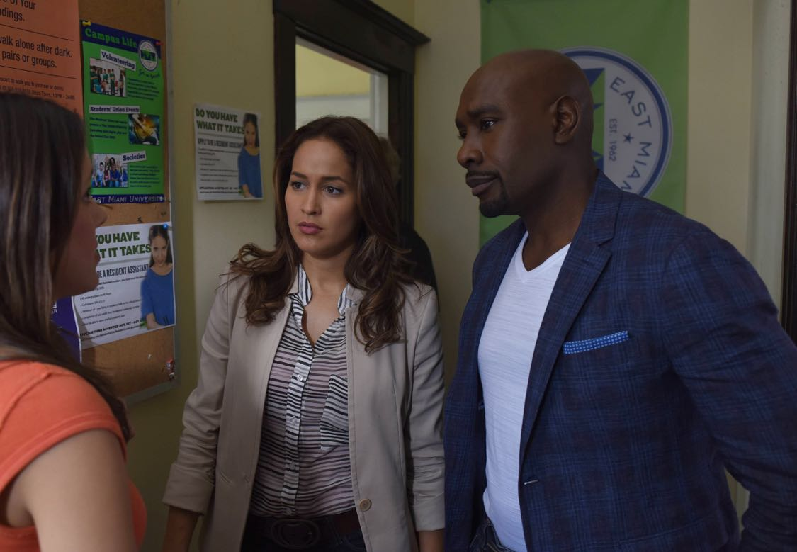 "ROSEWOOD: Pictured L-R: Jaina Lee Ortiz and Morris Chestnut in the ""Forward Motion & Frat Li"" episode of ROSEWOOD premiering Thursday, Sept. 22 (8:00-9:00 PM ET/PT) on FOX. ©2016 Fox Broadcasting Co. CR: Ray Mickshaw/FOX"