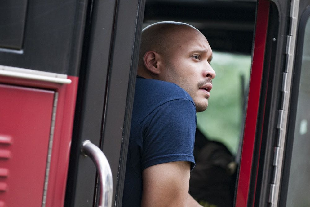 "CHICAGO FIRE -- ""The Hose or The Animal"" Episode 501 -- Pictured: Joe Minoso as Joe Cruz -- (Photo by: Matt Dinerstein/NBC)"