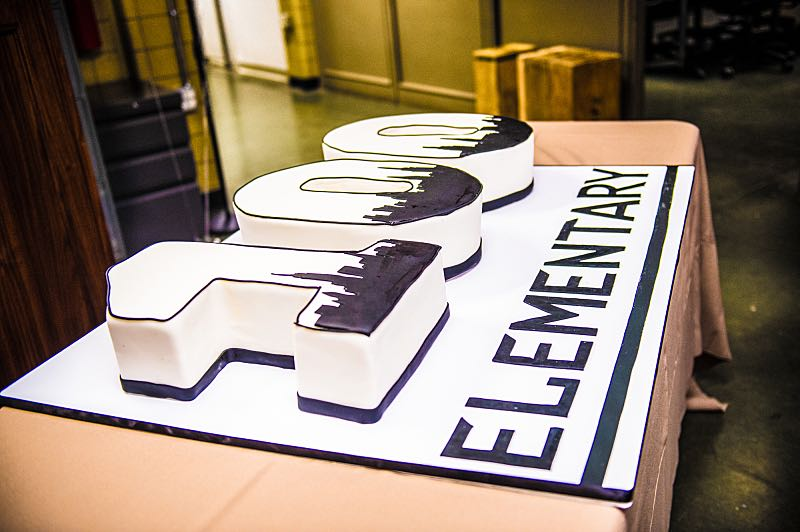 """""""Henny Penny The Sky Is Falling"""" -- The cast of ELEMENTARY celebrates their milestone 100th episode with a cake-cutting ceremony Photo: Michele Crowe /CBS ©2016 CBS Broadcasting Inc. All Rights Reserved."""