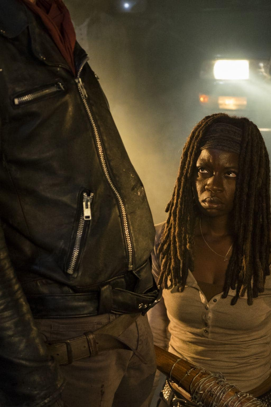 >>> NOT TO BE USED UNTIL 10/24/16 at 1:00 AM EST <<< Danai Gurira as Michonne, Jeffrey Dean Morgan as Negan- The Walking Dead _ Season 7, Episode 1 - Photo Credit: Gene Page/AMC