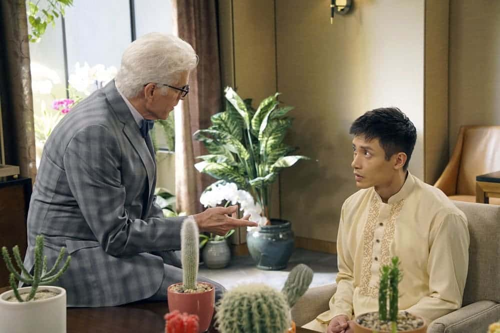 "THE GOOD PLACE -- ""Most Improved Player"" Episode 107 -- Pictured: (l-r) Ted Danson as Michael, Manny Jacinto as Jianyu -- (Photo by: Chris Haston/NBC)"