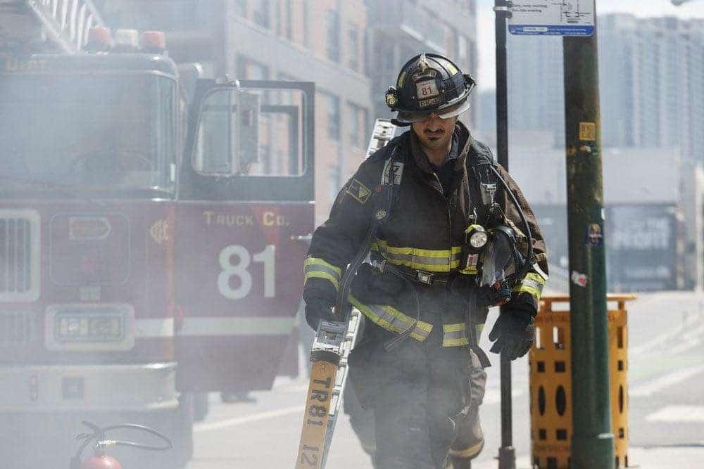 "CHICAGO FIRE -- ""Scorched Earth"" Episode 503 -- Pictured: Yuriy Sardarov as Brian ""Otis"" Zvonecek -- (Photo by: Parrish Lewis/NBC)"