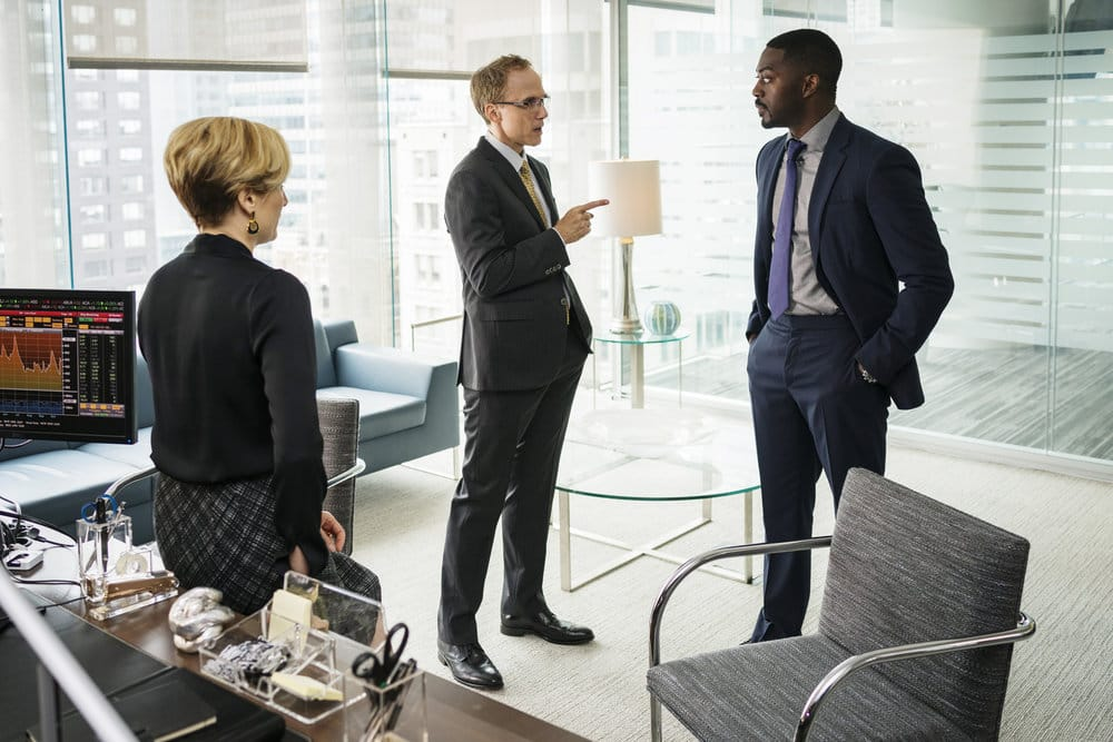 """FALLING WATER -- """"Calling the Vasty Deep"""" Episode 102 -- Pictured:  (l-r) Neal Huff as Nicholas Hull, David Ajala as Burton -- (Photo by: Michael Parmalee/USA Network)"""