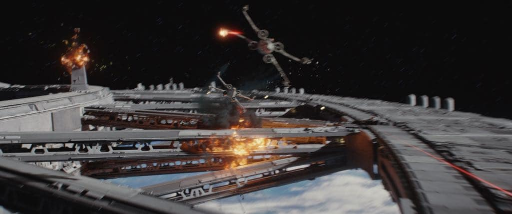 Rogue One: A Star Wars Story X-Wings in battle Photo credit: Lucasfilm/ILM ©2016 Lucasfilm Ltd. All Rights Reserved.