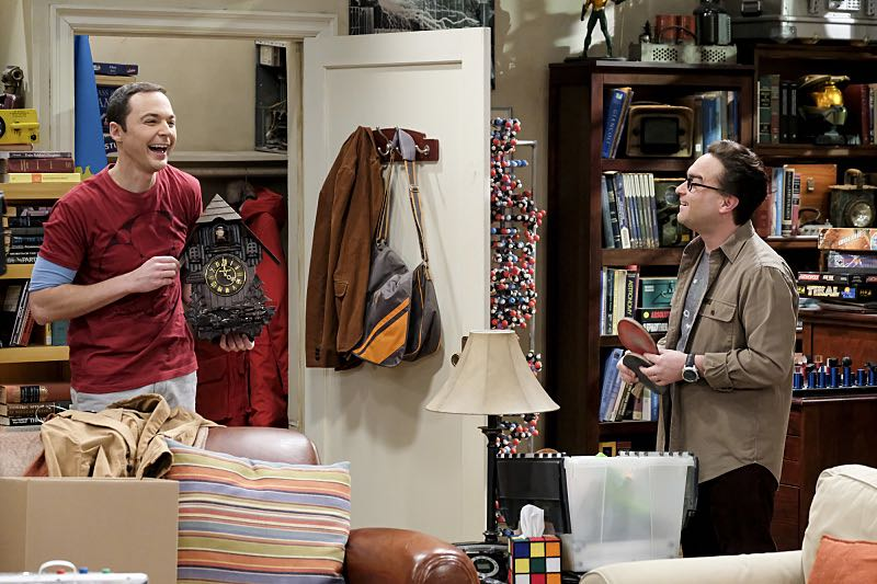 """""""The Property Division Collision"""" -- Pictured: Sheldon Cooper (Jim Parsons) and Leonard Hofstadter (Johnny Galecki). Sheldon and Leonard try to divvy up their shared belongings, but can't agree on anything.  Also, Koothrappali and Stuart fight to be the most helpful during Bernadette's final weeks of pregnancy, on THE BIG BANG THEORY, Thursday, Dec. 1 (8:00-8:31 PM, ET/PT), on the CBS Television Network. Christopher Lloyd guest stars as Theodore. Photo: Darren Michaels/Warner Bros. Entertainment Inc. © 2016 WBEI. All rights reserved."""