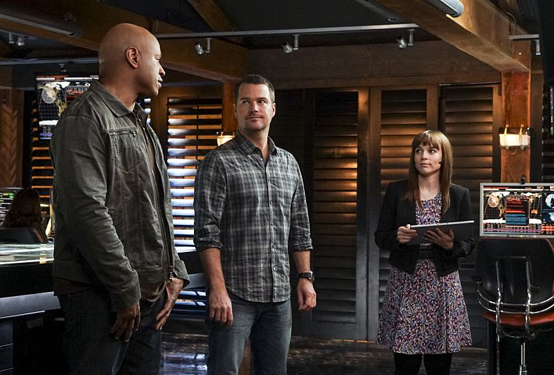 """Glasnost"" -- Pictured: LL COOL J (Special Agent Sam Hanna), Chris O'Donnell (Special Agent G. Callen) and Renée Felice Smith (Intelligence Analyst Nell Jones). After Callen's father, Garrison (Daniel J. Travanti) is found in an NCIS patient's hospital room during a radiation poisoning case, Callen must take him to the boatshed for interrogation. Also, the team discusses their Thanksgiving plans, on NCIS: LOS ANGELES, Sunday, Nov. 20 (8:30-9:30 PM, ET/8:00-9:00 PM, PT), on the CBS Television Network. Photo: Monty Brinton/CBS ©2016 CBS Broadcasting, Inc. All Rights Reserved."