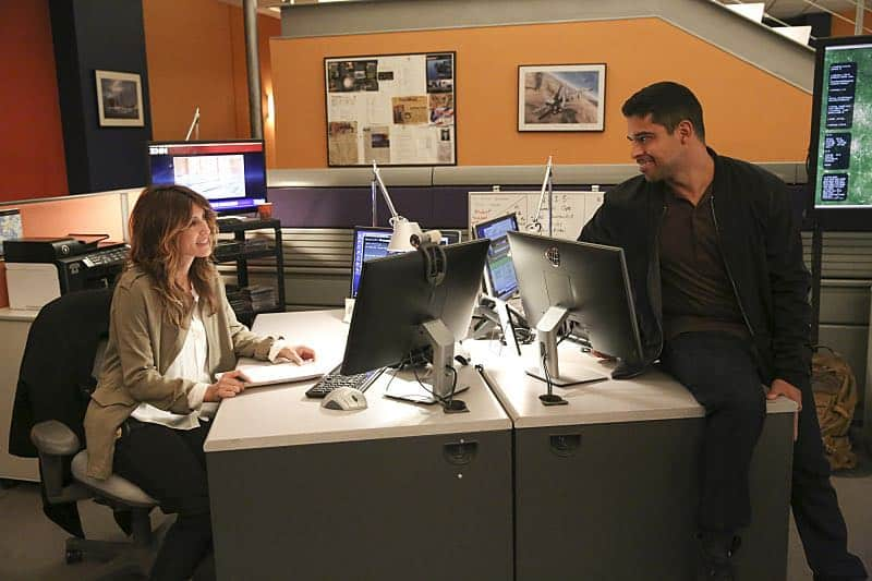 """""""Pay to Play"""" -- The NCIS team investigates a series of escalating threats against congresswoman Jenna Flemming (Mary Stuart Masterson), while Director Vance oversees temporary protection detail, on NCIS, Tuesday, Nov. 15 (8:00-9:00 PM, ET/PT), on the CBS Television Network. Pictured: Jennifer Esposito, Wilmer Valderrama. Photo: Michael Yarish/CBS ©2016 CBS Broadcasting, Inc. All Rights Reserved"""