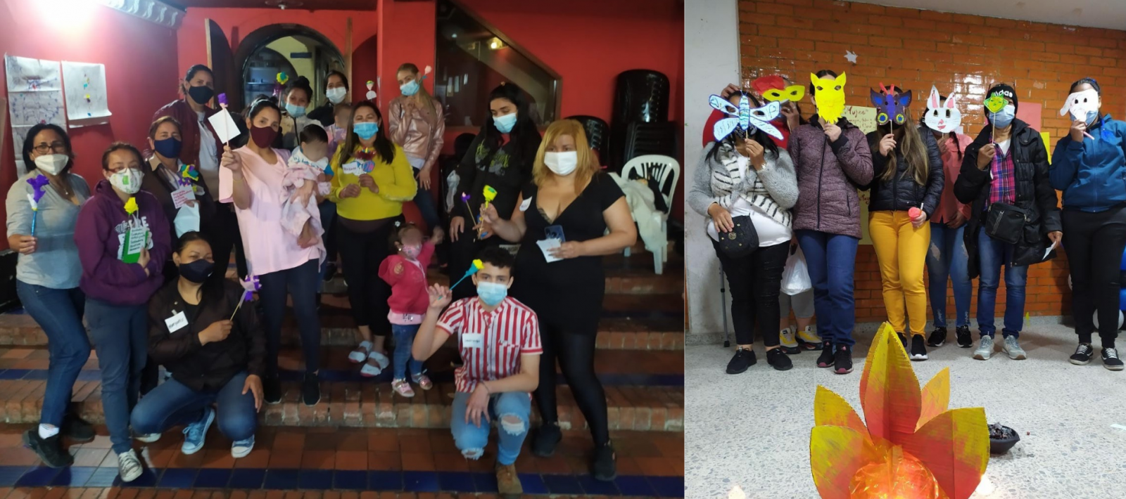 En una actividad grupal, las mujeres participan en un taller de sanación emocional.  Actividad de mascaras, un espacio de creatividad.  Foto: Cortesía Mujeres de Nueva Luz