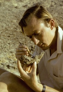 Richard Leakey cleans a fossil mandible
