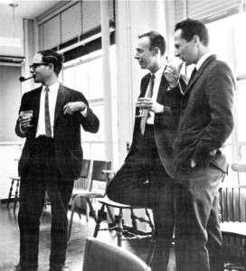 Watson with Walter Gilbert and Matthew Meselson at Harvard University in 1960s. (Credit: James D. Watson Collection, Cold Spring Harbor Laboratory Archives.)