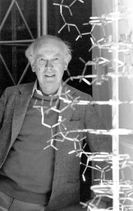 Watson with DNA double helix model in 1988. (Photo: James D. Watson Collection, Cold Spring Harbor Laboratory Archives.)