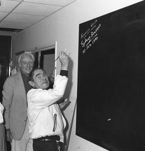 Brenner and Crick at blackboard.