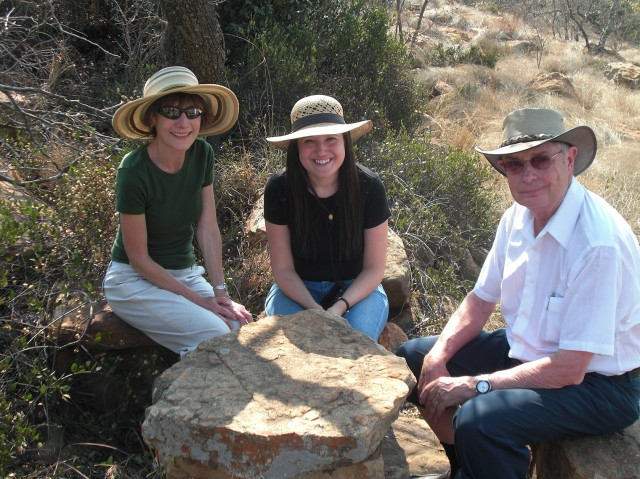 Phillip Griffiths, Lori Mulcare, and Arlene Hastings in the bush in South Africa.