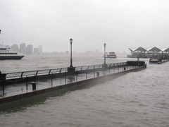 Rain Causes Flooding Along the Battery