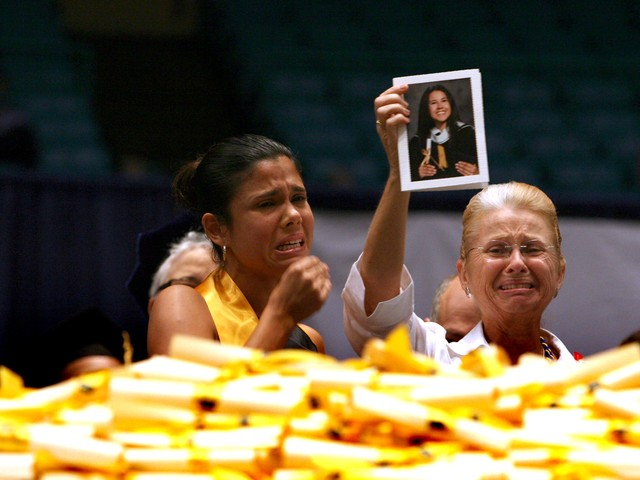 Maureen St. Guillen, (R) mother of Imette St. Guillen, and Alejandra St. Guillen (L) attend an honorary graduation ceremony at John Jay College, Alejandra, June 5, 2006.