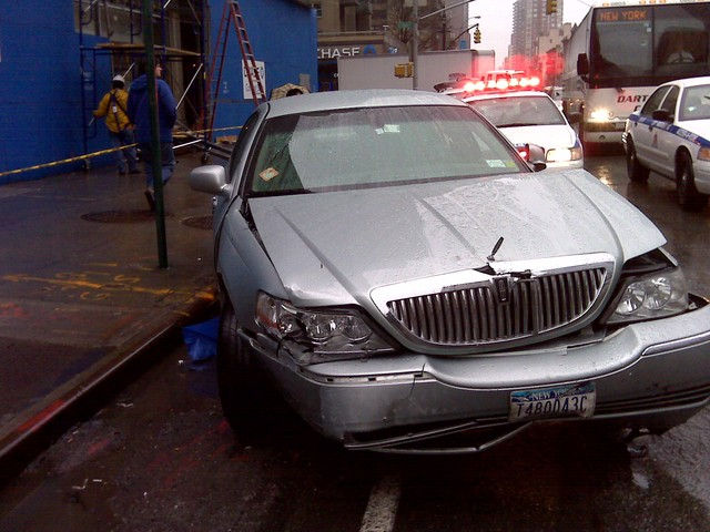Car Jumps Curb In Upper East Side The driver of this Cadillac allegedly
