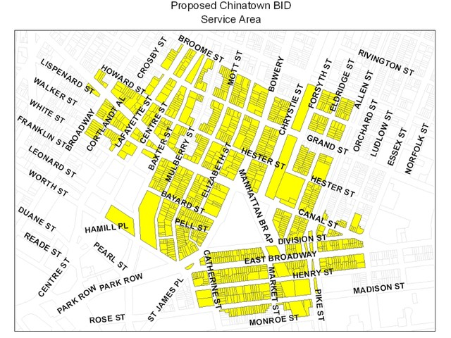 The Chinatown BID's proposed service area is bounded by Broome Street to the north, Broadway to the west, Allen and Rutgers streets to the east, and White, Worth and Madison streets to the south.