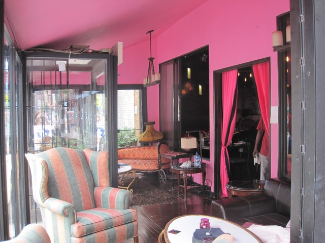 Bright pink walls adorn the new Pink Tea Cup.