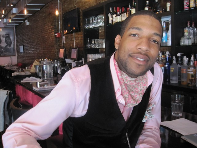 Pink Tea Cup's general manager, Kile Brown, was decked out in pink from head to toe.