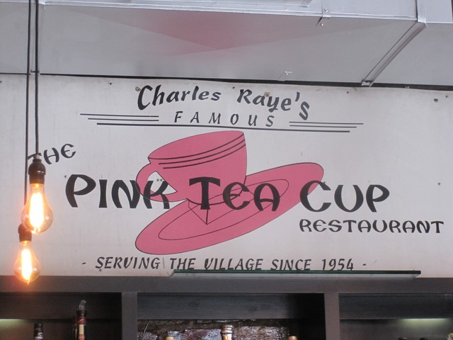 Pink Tea Cup's original sign hangs in its new digs.