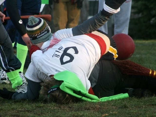 Quidditch is a full-contact sport, often involving rough tackles.