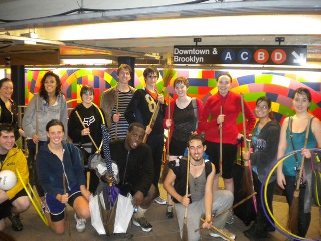 NYU Quidditch players en route to their next practice.