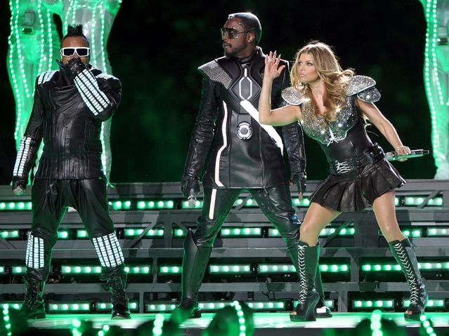 apl.de.ap, will.i.am and Fergie of The Black Eyed Peas perform during the Bridgestone Super Bowl XLV Halftime Show at Dallas Cowboys Stadium on Feb. 6, 2011.