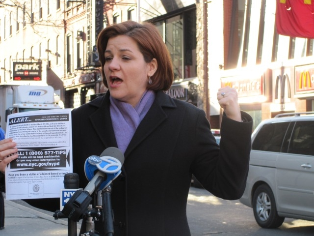 City Council Speaker Christine Quinn spoke across the street from the 3rd Street McDonalds, where she said a man was attacked over the weekend.
