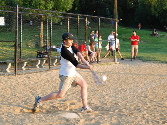 Ian Crouch, web producer for the New Yorker, hits a ground ball.