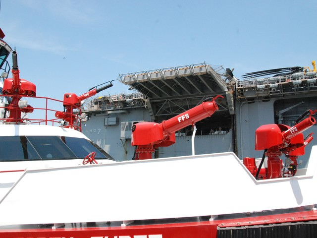 The boat's water canons can shoot 50,000 gallons of water per minute.