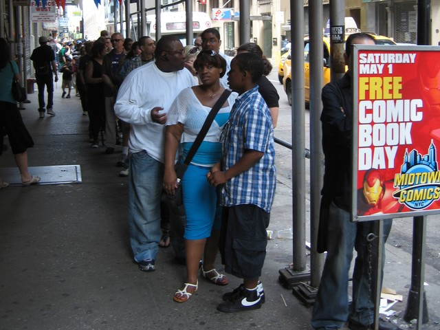 Fans lined up to get inside Midtown Comics on West 41st Street for Free Comic Book Day on Saturday.