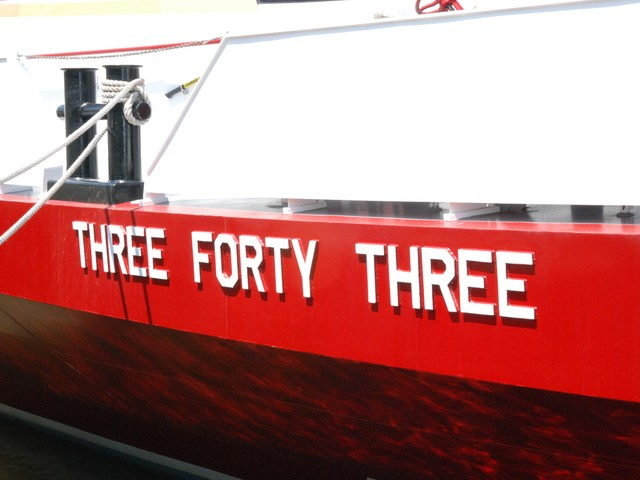 The lettering on the bow of the boat was made out of World Trade Center steel.