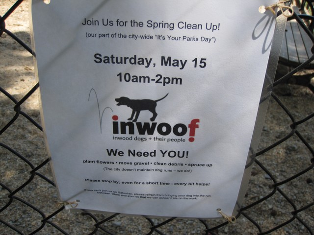 Members of Inwoof, the community of dog owners who frequent Homer's Run in Inwood Hill Park, spent the day cleaning, spreading gravel and preparing the dog run for summer fun.