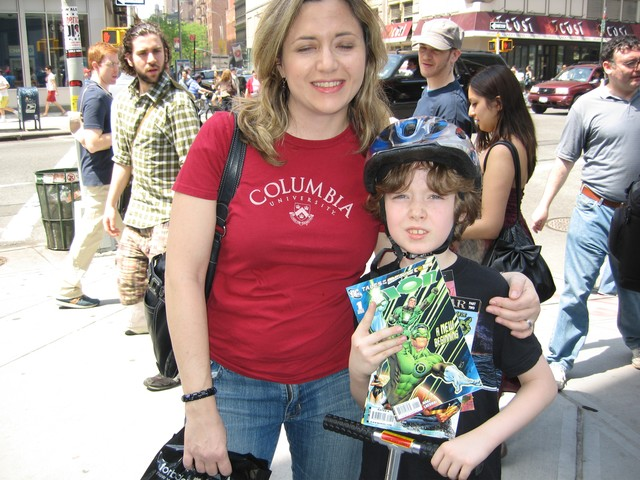Melianthe Kines and her son Kyle Pidgeon outside the Union Square comic shop Forbidden Planet.