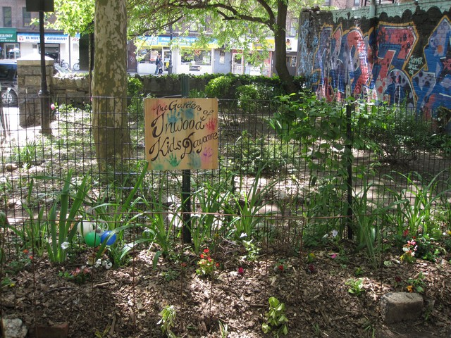 The garden on the western edge of Isham Park also received some care.