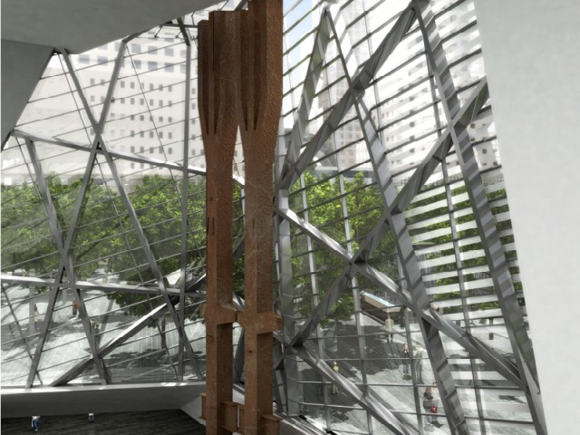 The World Trade Center steel tridents will stand in the entrance to the underground museum.