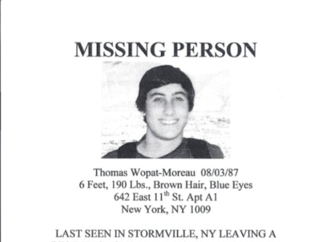 A flyer seeking Thomas Wopat-Moreau, who was rescued Thursday after spending 4 days in a swamp.