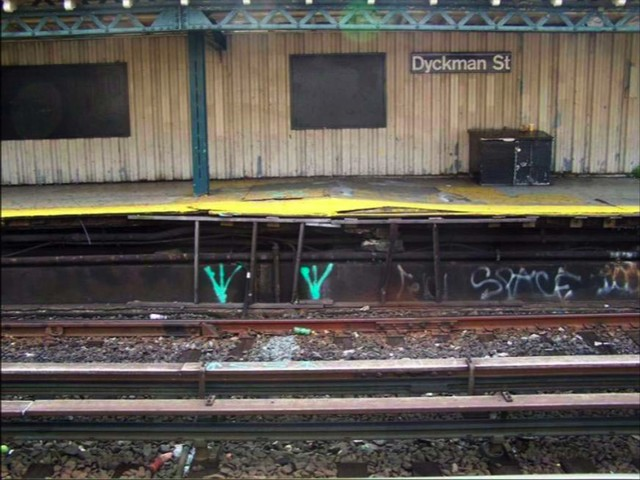 View of crumbling platform at Dyckman Street station.