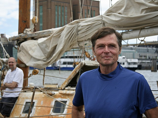 Reid Stowe looks over the Hudson River after finishing his three year sailing journey around the world.